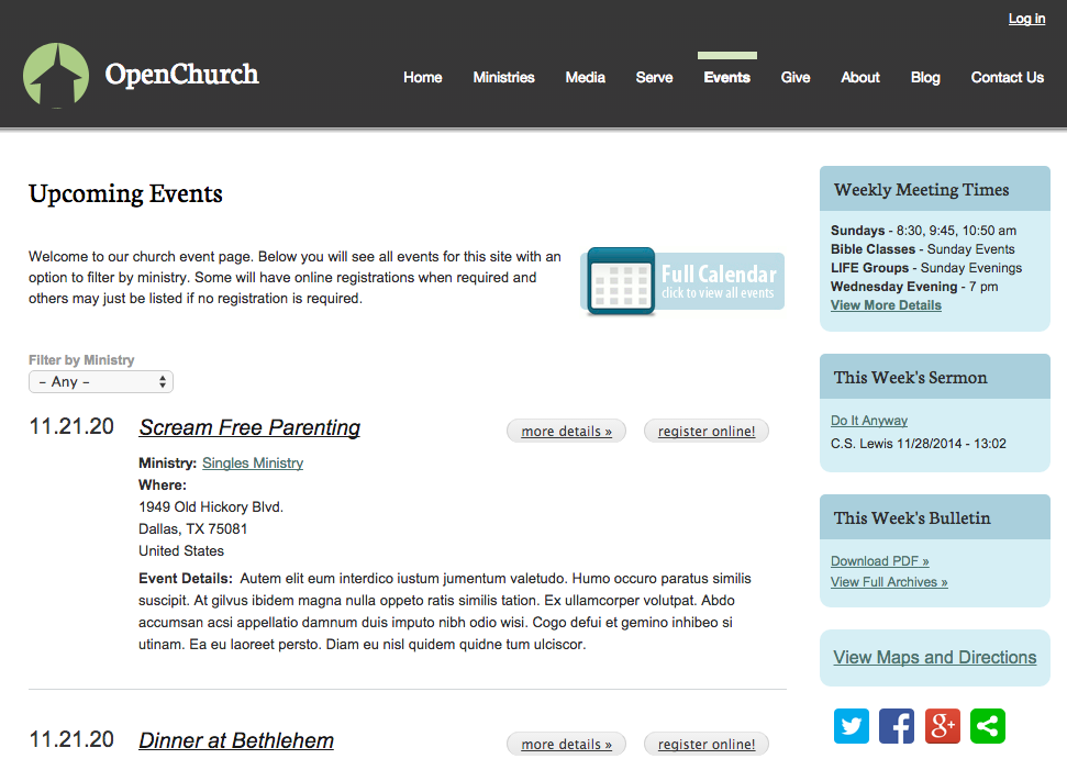 OpenChurch Events